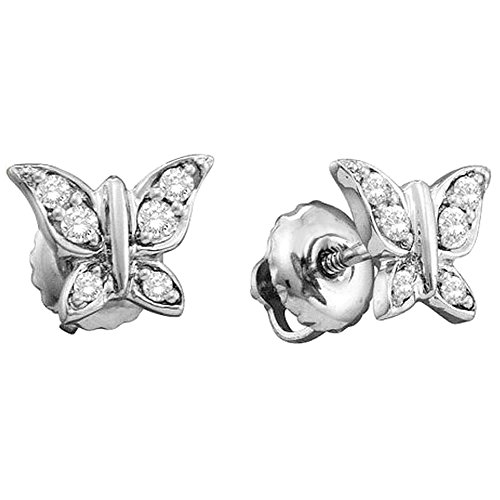 Dazzlingrock Collection 0.15 Carat (ctw) 14K Round White Diamond Ladies Butterfly Stud Earrings, White ()