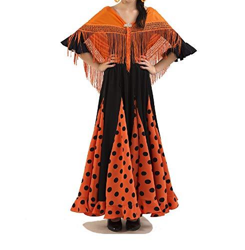 ANUKA Conjunto de niña para Danza Flamenco o sevillanas. Maillot, Falda y mantón (
