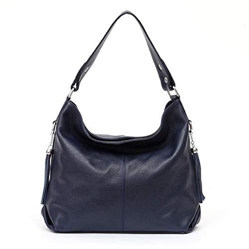 New Fashion Soft Real Genuine Leather Tassel Women Handbag Elegant Ladies Hobo Shoulder Bag Messenger Purse Satchel,Navy Blue