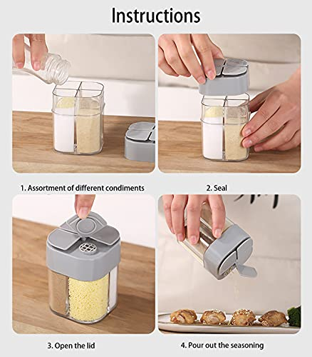 2Pcs Spice Jars Bottles, 4 in 1 Spice Containers, Salt Spice Storage Shaker Organizer Dispenser, Travel Salt and Pepper Shakers Mini, Small Salt Seasoning Jars, Camping Spice Jars for Cooking BBQ