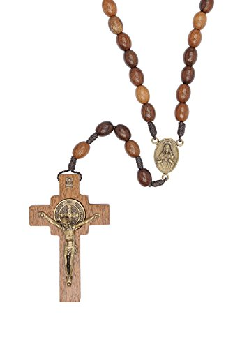 - St Benedict Mens Large Intercession Rosary - Made in Brazil (Walnut with Sacred Heart Medal)