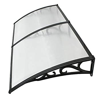 Image of Home and Kitchen akasaw98 80 x 40 inch Window Canopy Awning Front Door Patio Cover Outdoor Polycarbonate