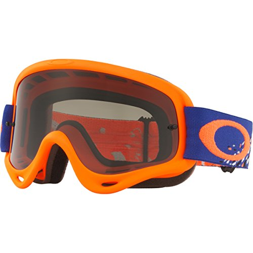 Oakley O Frame MX CheckedFinish BlueOrg with DkGry unisex-adult Goggles (Orange, Medium), 1 Pack