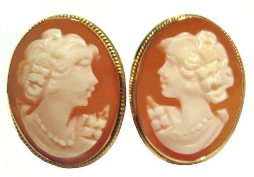- Romantica, Post Back Cameo Earrings 14k Gold Carnelian Conch Shell Master Carved, Italian