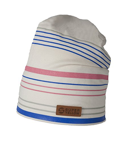 White Striped Beanie (SUPERYELLOW Slouchy Striped Print Beanie in Cotton, Off White, One Size)