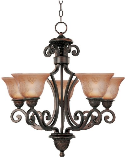 Maxim 11244SAOI Symphony 5-Light Chandelier, Oil Rubbed Bronze Finish, Screen Amber Glass, MB Incandescent Incandescent Bulb , 60W Max., Damp Safety Rating, Standard Dimmable, Opal Glass Shade Material, Rated Lumens