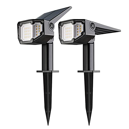 EverBrite 30LEDs Solar Lights Outdoor, IP67 Waterproof Landscape Spotlights 2-in-1 Wall Light with 4 Modes Cold & Warm Dimmable for Pathway Garden Yard Driveway Pool, 2 Packs