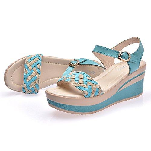mujer vestir Sandalias para de Azul VWU xdEYqwIU