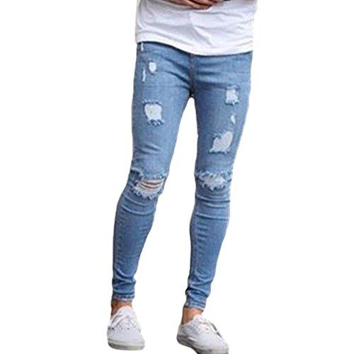 Uomo Denim Yuncai Tempo Azzurro Moda Jeans Libero Foro Pantaloni Classico Con qqFtABg