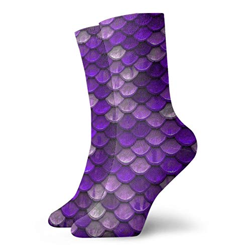 (Unisex Fun Dress Socks - Colorful Funky Socks - Purple Mermaid Fish Scales Socks)