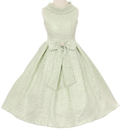 Teardrop Sage - AkiDress Tear Drop Jacquard Deco Dress with Pearl Broach for Little Girl Sage 6