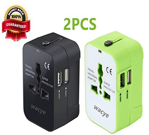 Universal Power Adapter,Wacye AC Plug Wall Charger Travel Adapter(USA UK AU CN Europe) with Dual USB Ports for iPhone,Samsung,iPad iPod,Camera,Laptop ()