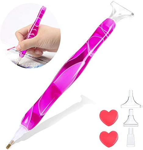 Diamond Painting Pen, Handmade Diamond Art Pen Kit, Resin 5D DIY Diamond Drill Pen for Art Crafts Cross Stitch Hobby (Purple)