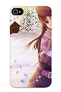 Summerlemond Case Cover Protector Specially Made For Iphone 4/4s Brunettes Snow Spice And Wolf Cats Red Eyes Scarfs Hats Holo The Wise Wolf Anime Girls