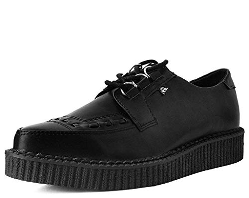 T.U.K. Shoes T2279 Unisex-Adult Creepers, Hi Shine Lace Up Pointed Anarchic Creeper - US: Men 12 / Women 14 / Black/Synthetic