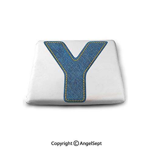 Double Sided 14' Pillow - Seat Cushions Square Chair Pads,Letter Y,ABC of Vintage Fashion Theme Jeans Fabric Denim Texture and Uppercase Y Image Decorative,Blue Yellow,Pillow Square Chair Cushion