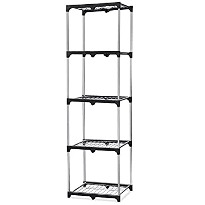 World Pride Office Home 5-Tier Silver Square Tower Shelves,Narrow Simple Shelving Storage Unit