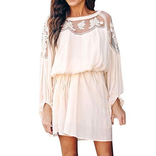Tigivemen Summer Women Shirt Chiffon Sexy Long Sleeve Mesh Sheer Floral Loose Short Mini Dress Beige