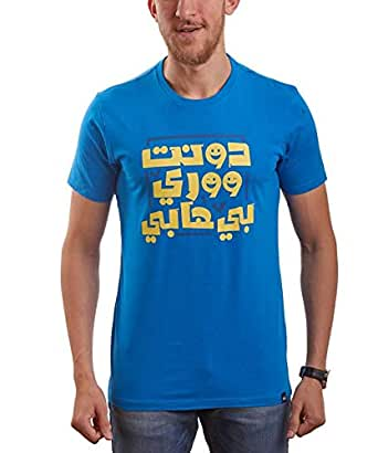 Nas Trends Blue Cotton Round Neck T-Shirt For Men