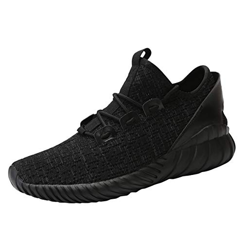 (Huacud Mens Walking Athletic Shoes Comfort Casual Sneaker Cross Training Running Footwear for Men Tennis Racquetball Indoor 1266All/Black44)