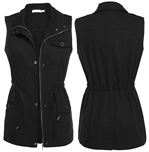 eless Turn Down Collar Zip Up Drawstring Jacket Vest with Pockets ()