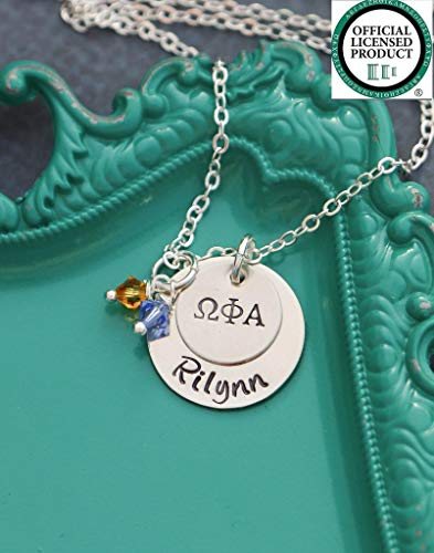Personalized Omega Necklace (Personalized Greek Jewelry - DII ABC - Handstamped Sorority Sister Necklace - 1/2, 3/4 Inch 19, 25.4MM Discs - Chi Omega - BSR - Reveal Gift - Custom Name - Fast 1 Day Shipping)