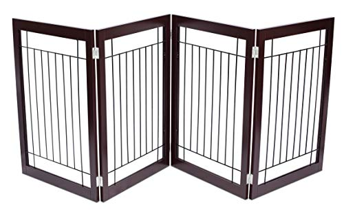 Entryway Traditional (Internet's Best Traditional Wire Dog Gate | 4 Panel | 30 Inch Tall Pet Puppy Safety Fence | Fully Assembled | Durable MDF | Stairs Folding Z Shape Indoor Doorway Hall Free Standing | Espresso)