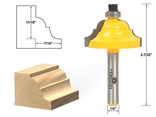Yonico 13124q Double Roman Ogee Edging Router Bit with Large 1//4-Inch Shank
