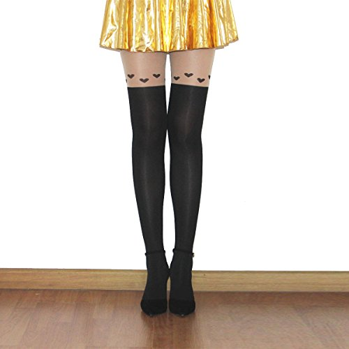 Kawaii Socks - Cute Animal Mock Cartoon Knee High Tattoo Tights - Thigh-high Patterned Stockings for Women and Girls ()