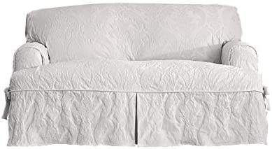 Sure Fit Matelasse Damask One Piece Loveseat Slipcover - White (SF40356)