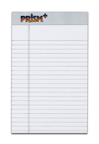 TOPS Prism Plus 100% Recycled Legal Pad, 5 x 8 Inches, Perforated, Gray, Narrow Rule, 50 Sheets per Pad, 12 Pads per Pack (63060)