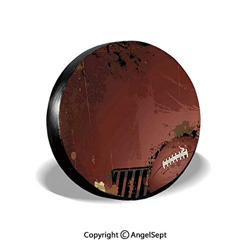 Tire Cover,Maroon Grunge Rugby Theme with Game Elements Competition Win Sports Artisan Image,Brown Black,for Jeep Trailer RV SUV Truck Camper Travel Trailer Accessories,16 Inch