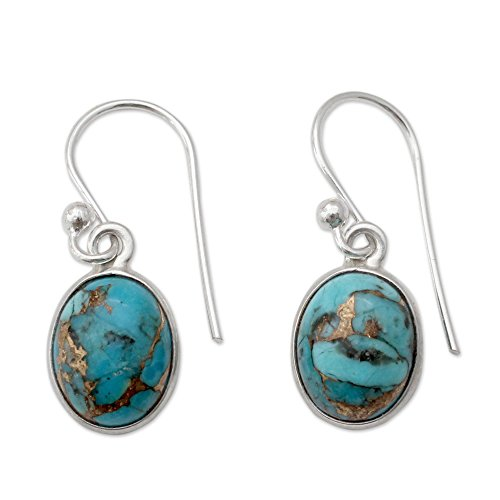 NOVICA Reconstituted Turquoise .925 Sterling Silver Dangle Earrings Sky Harmony