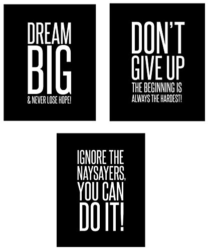 Dream Big 3-Set Mini Posters (8 x 10 inch) Motivational Inspirational Famous Quote Wall Art Posters – Black and White Typographic UNFRAMED Wall Decor for the Home, Office, Classroom, Dorm Room, (Cool Words Beginning With E)
