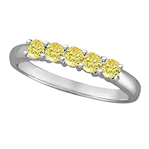 14k Gold Five Stone Fancy Yellow Canary Diamond Anniversary Ring 14k White (0.50ct)