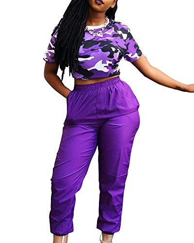 2 Piece Outfits for Women Bodycon Jumpsuit - Short Sleeve Tops Joggers Pants Purple