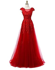 Udresses Womens Long Lace Bridesmaid Dress Cap Sleeve Prom Dresses Formal BR10
