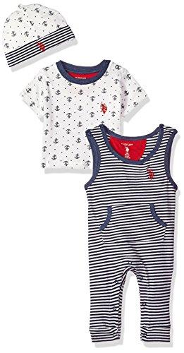 U.S. Polo Assn. - Conjunto de playera, accesorio y pantalón para bebé, Sleepy Play Anchors Allover Print, 6-9Meses