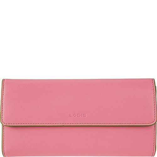 Lodis Womens Audrey Leather Flap Checkbook Clutch Wallet (Pink & Kiwi) by Lodis