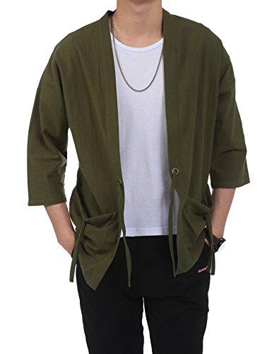 COOFANDY Men's Lightweight Cotton Linen Blend Jacket Vintage Cloak Open Front Cardigan,Olive Green,X-Large(US M+) ()