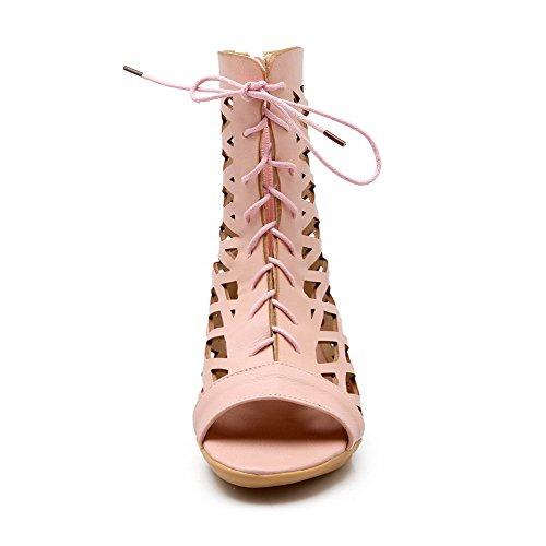 AllhqFashion Mujeres Cremallera Puntera Abierta Sólido Sandalias de vestir con Lazos Rosa