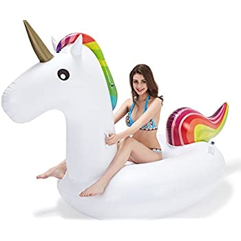 Leisure Giant Inflatable Unicorn Pool Float [Vickea®] Large Outdoor Swimming Pool Floatie Lounge Toy for Adults & Kids