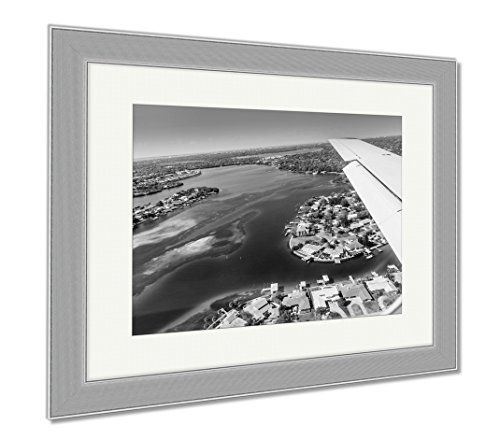 Ashley Framed Prints Aerial View Of Downtown St Petersburg Florida Landing At The Airport In St, Contemporary Decoration, Black/White, 26x30 (frame size), Silver Frame, - Locations Airport Florida In