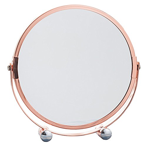 Mirror European-style double-sided tabletop makeup portable magnification vanity Rose Gold 18.7cm from Mirror