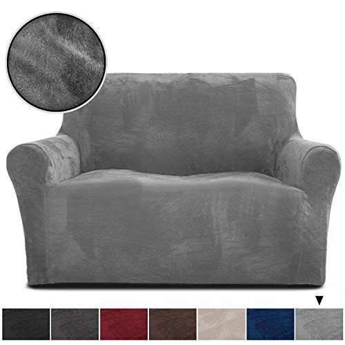 Rose Home Fashion RHF Velvet Loveseat Slipcover Slipcovers for Couches and Loveseats, Loveseat Cover&Couch Cover for Dogs, 1-Piece Sofa Protector(Grey -Loveseat)