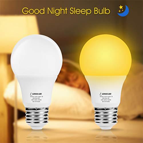 LOHAS Amber Sleep Light Bulb, A19 LED Bulb 6 Watt Warm 2500K, 40W Equivalent Night Light Bulbs E26 Base, GoodNight Sleep Promoting No Blue Light for Reading Bedroom Baby kids(2PACK)
