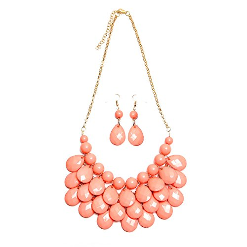 Riah Fashion Chunky Acrylic Jewel Cluster Floating Bubble Statement Necklace - Teardrop Dangle Layered Bib Collar (Dusty Pink) -