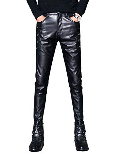 Idopy Men`s Black Party Stage Performance Slim Fit Biker Faux Leather Pants 1146 36 -