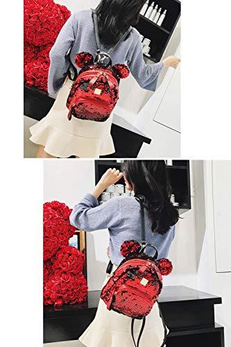 with Mini Satchel Women Ears Bag Girls Pink Cute Backpack Shoulder Dazzling Schoolbag Sequins qAfawSI