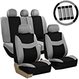 FH GROUP FH Group FB030GRAYBLACK115-COMBO Seat Cover Combo Set with Steering Wheel